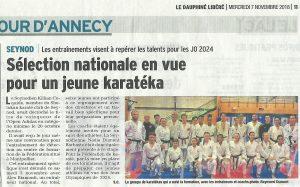 Article Dauphiné du 6 novembre