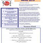 Vacances d'avril 2019 voir les cours qui sont assurés